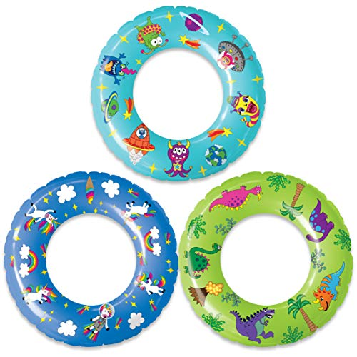 Pool Floats and Swimming Rings for Kids - 3 Pack Inflatable Pool Floats, Beach Floats, Swim Rings Tube Set w/ Original Designs (Unicorns, Dinosaurs, Aliens) ()