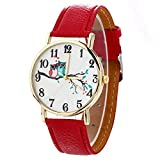 Zaidern Womens Leather Watches Unique Analog Quartz Fashion Clearance Lady Watches Female Watches on Sale Casual Wrist Watches for Women Round Dial Case Comfortable Cute Owl Pattern Neutral Watch