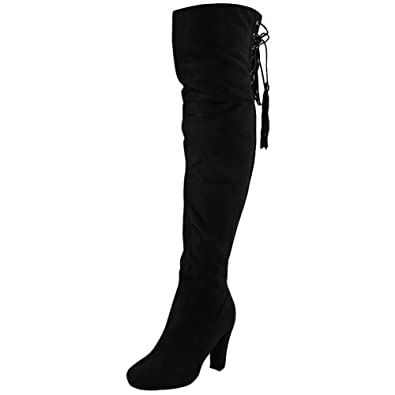 7e0e33088f98 Womens Ladies Thigh High Over The Knee Long Lace up Block Heel Boots Shoes  Size 3