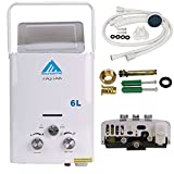 Ridgeyard 6L/Min (1.6 GPM) LPG Propane Gas Portable Tankless Instant Hot Water Heater + Shower Head Indoor Outdoor Shower Use for Small Homes RV's Sailboats Cabins
