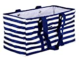 April Fashions NU-23-BL Blue White Strap Pattern, All Purpose Open Top, Collapsible Wire Frame Trunk Organizer, Market, Utility Bags