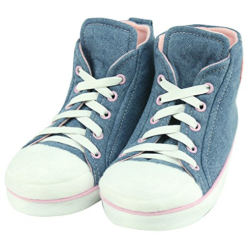 (Women Indoor House Slippers Shoes Forfoot Fashion High-top Sneaker Slipper US Size 8 Dark Blue&Pink)