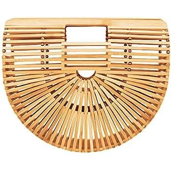 a6eabdcee Bamboo Handbag Tote Bag by Handmade Straw Bag for Women Natural Basket Bag  for Summer Beach