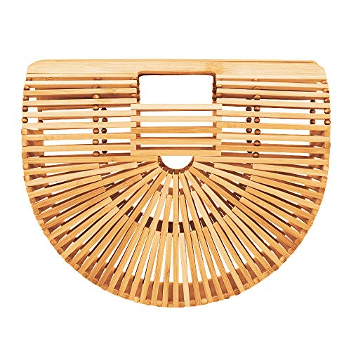 Bamboo Handbag Tote Bag by Handmade Straw Bag for Women Natural Basket Bag for Summer Beach