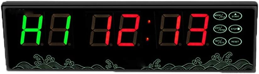 LEDインターバルタイマー ジムストップウォッチは、リモートコントロールLEDインターバルタイマーカウントトレーニングタイマーと壁時計を導いた リモートおよびボタン付きタイマー (色 : ブラック, サイズ : 28X8X2.7CM) ブラック 28X8X2.7CM