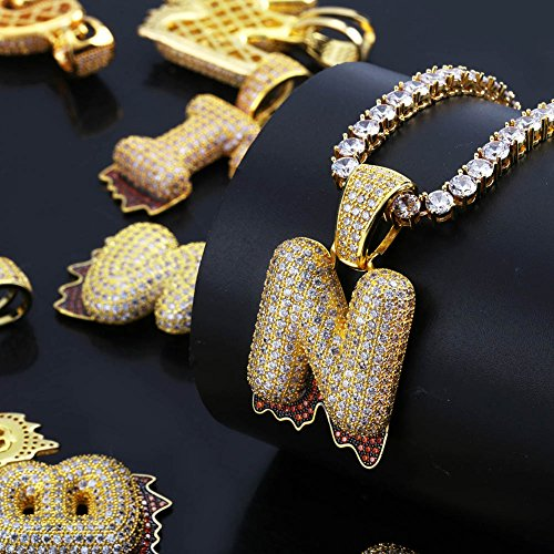 HECHUANG Micropave Simulated Diamond Iced Out Bling Custom Bubble Letters Dripping Initial Pendant with Rope Chain (J Gold, 24) by HECHUANG (Image #4)