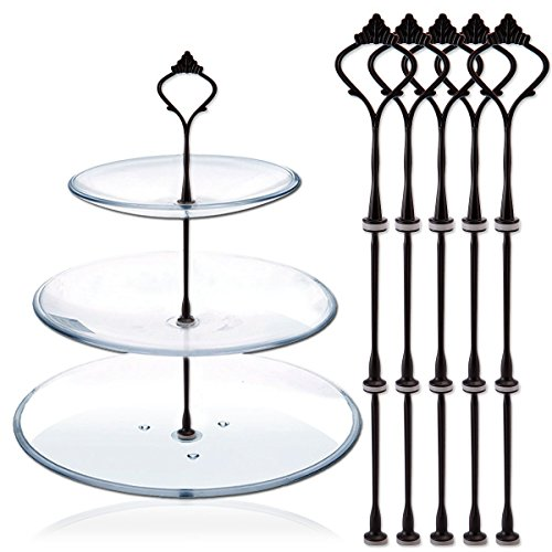 Happy Will 5 Sets 3 Tier Crown Cake Stand Fruit Cake Plate Handle Fitting Hardware Rod Stand Holder with Stylus Black (Plates Not Include) by Happy Will