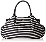 kate spade new york Classic Nylon Stevie Baby Shoulder Bag, Black/Clotted Cream, One Size