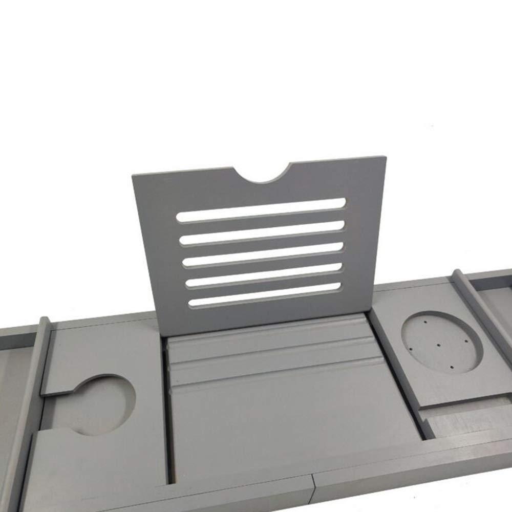 Bathtub Trays HAIZHEN, Bamboo, Adjustable Telescopic Bed Laptop Desk with Wine Glass/Phone Holder /2 Sliding Tray (Gray) by Bathtub Trays (Image #5)