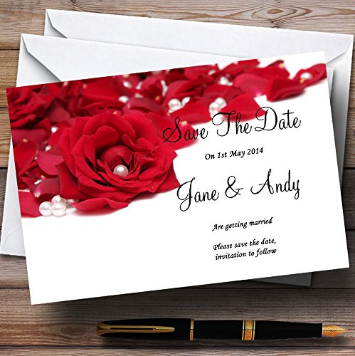 (White Pearl Red Rose Petals Personalized Wedding Save The Date Cards)