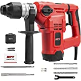 MPT 1-1/2 Inch SDS-plus 12 Amp Heavy Duty Rotary Hammer Drill,3 Functions Vibration Control and Adjustabl Soft Grip Handle,Include 3 Drill Bits,Point and Flat Chisel with Case