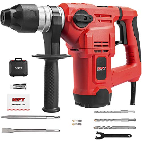 MPT 1-1/4 Inch SDS-plus 12 Amp Heavy Duty Rotary Hammer Drill,3 Functions Vibration Control and Adjustabl Soft Grip Handle,Include 3 Drill Bits,Grease,Chisel with Case