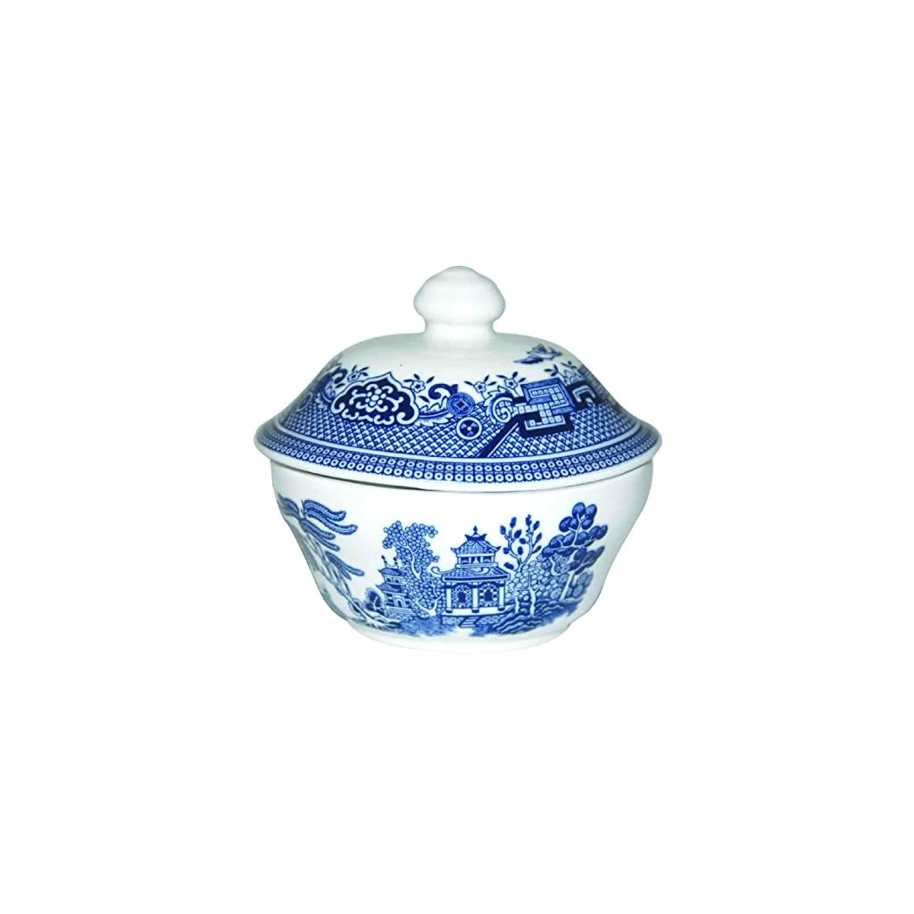 Churchill Blue Willow Fine China Earthenware Covered Sugar Bowl 5.5″, Made In England