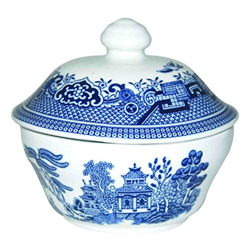 Churchill Dinner Sets (5.5 oz Sugar Bowl, Blue Willow) Fine China Covered Sugar Bowl