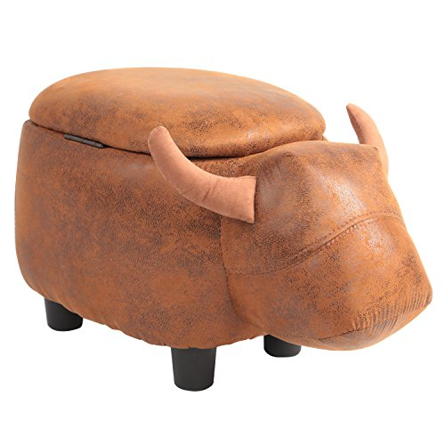 KIMIMOON Adorable Storage Ottoman Bench,Comforable Footrest and Stool with Soft Pad, Storage Compartment Seat with Vivid Adorable Animal Shape as Kids Gift,Toy Box Chest (Brown Cow) by KIMIMOON