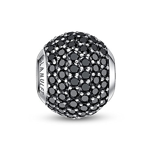Glamulet Sports 925 Sterling Silver Black Crystal Birthstone Bead Charm Fits Pandora Bracelet