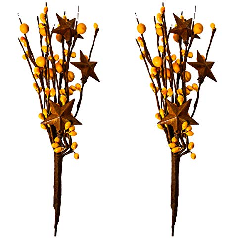 Primitive Twig - OBI Pip Berry Metal Star Picks 2piece - 9inch Twigs Mustard Color Berries - Mini Artificial Plant Stem for Vases or Crafts - Country Primitive Floral Home Wedding Decor