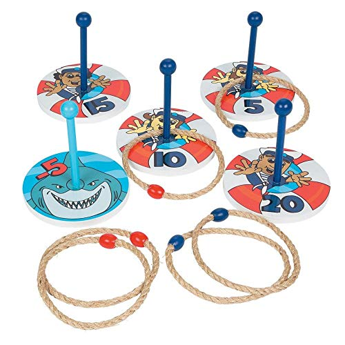 Shark Party Life Preserver Game - wooden ring toss game set -