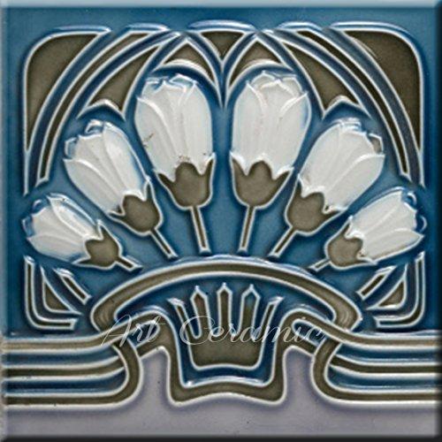 Art Nouveau Ceramic Tile 6 Inches Reproducction #257