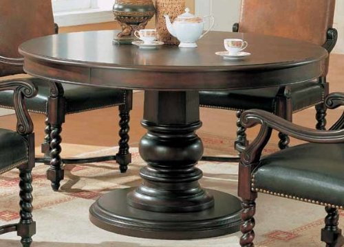 Amazoncom Round Pedestal Wood BrownBlack Dining Table Tables - 70 inch round pedestal dining table
