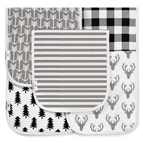 """Baby Burp Cloths for Girls and Boys, 5 Pack Set, 100% Organic Cotton, Large 21"""" x 10"""" Burping rags, 3 Layer, Thick, Absorbent and Super Soft, Unisex Woodland Design in White, Gray, Black, by"""