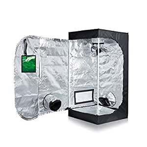 PrimeGarden Hydroponic 24''x24''x48'' 600D High Reflective Mylar Water-Resistant Grow Tent Dark Room with Observation Window and Removable Floor Tray for Indoor Plant Growing (24''X24''X48'')