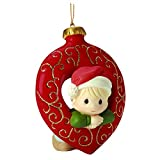 "Precious Moments, Christmas Gifts, ""You Fill My Heart"", Boy, Bisque Porcelain Ornament, #161029"