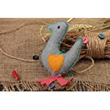 Handmade Decorative Wall Hanging Soft Toy Sewn Of Felt Small Gray Goose