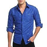 Men's Shirt, Clearance Sale !! Farjing Men's Autumn Casual Camouflage Print Slim Fit Long Sleeve Shirt Top Blouse(M,Blue)