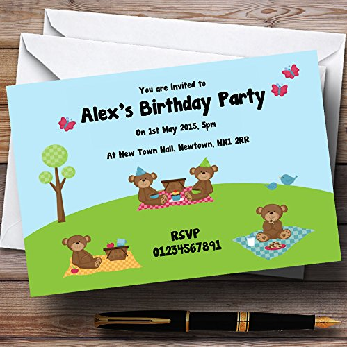 (Picnic Teddy Bears Personalized Birthday Party Invitations)