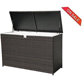 Charming PATIOROMA Outdoor Patio Aluminum Frame Wicker Cushion Storage Bin Deck Box,  Espresso Brown