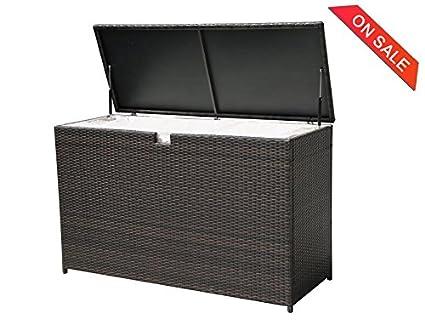 PATIOROMA Outdoor Patio Aluminum Frame Wicker Cushion Storage Bin Deck Box,  Espresso Brown