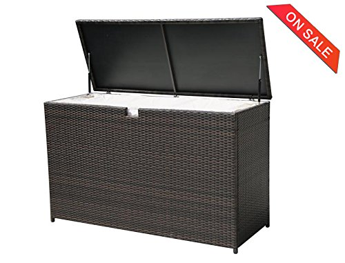 PATIOROMA Outdoor Patio Aluminum Frame Wicker Cushion Storage Bin Deck Box, Espresso Brown