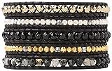 Chan Luu Black Onyx Semi Precious Stones Gold Tone Beads Mix Wrap Leather Bracelet