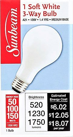 Sunbeam Mighty Bulb 3-Way, 50, 100 or 150 Watts, Soft White