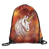 SUNG916 Scar Unicorn Gym Drawstring Bags Backpack