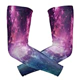 Sports Sleeves, Purple Blue Arm UV Protection Cooling Comfortable Long Compression Outdoor Unisex Women Men Sleeve for Driving Football Basketball Running Cycling