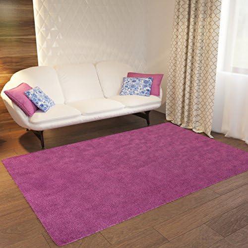 Home Way Pink Plain Solid Shag Area Rug Solid Color 6 7 x 9 10 Plain Modern Area Rug Living Kids Room Bedroom Playroom Baby Room Bathroom Rug Easy Clean Soft Plush Quality Carpet