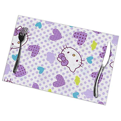 LIUYAN Placemats Purple Hello Kitty Placemat Washable Table Mats Set of 6 for Dining Table