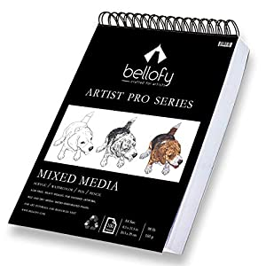 Bellofy 100-Sheet Sketchpad Artist Pro, Watercolor, Acrylic Art Pad for Sketching, Ink Sketch Book, Coloring Notebook – 98 Ib/160 g/m2-9 x 12 in Multi-Media Spiral Notebook, Drawing Paper, Drawing Pad