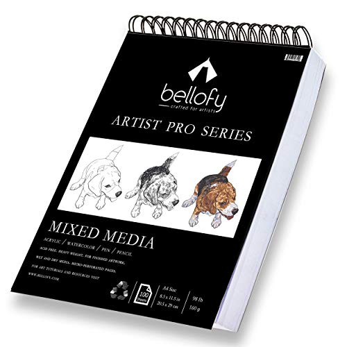 Bellofy 100-Sheet Sketchpad Artist Pro, Watercolor, Acrylic Art Pad for Sketching, Ink Sketch Book, Coloring Notebook - 98 Ib/160 g/m2-9 x 12 in Multi-Media Spiral Notebook, Drawing Paper, Drawing Pad ()