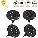 Solar Ground Lights, 8 LED Disk Lights Waterproof Garden Path Outdoor Lighting with Light Sensor for Lawn Patio Yard Walking Driveway (White Light, 4 Pack,Black)