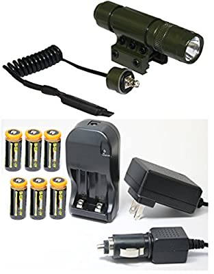 Ultimate Arms Gear OD Green Rifle-Shotgun-Gun Flashlight LED Light+Weaver-Picatinny Rail Mount+Switch+Tail Cap+CR123A 3V 1200 mAh Li-Ion Rechargeable Batteries Kit+Universal 110/220V Wall+Car Charger