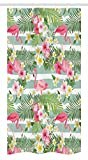 Pink and Green Striped Shower Curtain Ambesonne Flamingo Stall Shower Curtain, Flamingos with Exotic Hawaiian Leaves Flowers on Striped Vintage Background, Fabric Bathroom Decor Set with Hooks, 36 W x 72 L inches, Green Pink White