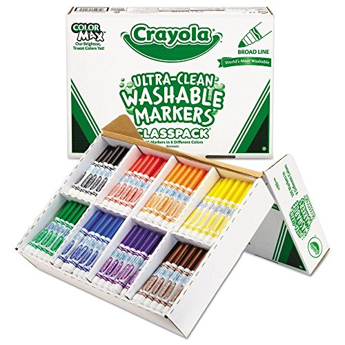 (Crayola 588200 Washable Classpack Markers, Broad Point, Assorted, 200/Box)