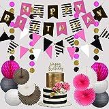 Premium Happy Birthday Decorations for Girls Women Party Set Kit | Hot Pink Gold Black White | Kate Spade Inspired |Banner Garland Bunting | Paper Lanterns | Honeycomb Balls | Tissue Fans| Cake Topper