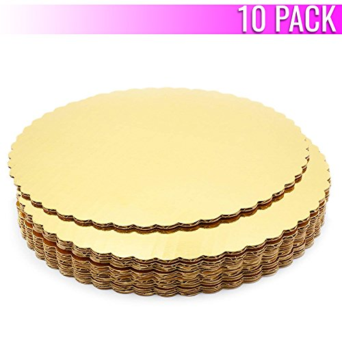 Disposable Cake Stands - Chefible Premium Gold Cake Circles, Corrugated, Cake Board, 12 Inch Diameter, Pack of 10