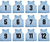 Oso Athletics Set of 12 Premium Mesh Numbered Scrimmage Vest Pinnies Team Practice Jerseys for Children, Youth, and Adult Sports Basketball, Soccer, Football, Volleyball, Lacrosse (Light Blue, Youth)