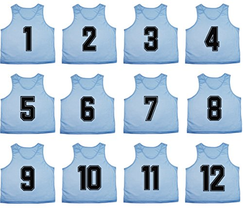 Team Apparel Basketball Jersey - Oso Athletics Set of 12 Premium Mesh Numbered Scrimmage Vest Pinnies Team Practice Jerseys for Children, Youth, and Adult Sports Basketball, Soccer, Football, Lacrosse (Light Blue (#1-12), Child)