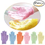 Bath Gloves Exfoliating Scrub 6pcs (3 Pairs), Bathroom Shower Nylon Exfoliating Scrub Gloves to Remove Dead Skin & Massage Skin for Women Kids (Red Blue Purple Yellow Pink Green Color & M Size)